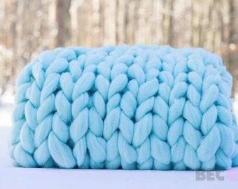 DIY Arm Knit Kit,30x50, Merino blanket,  gift