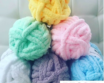 Chenille Yarn, FREE SHIPPING, Chunky Chenille Yarn, Hand knitting yarn, Blanket Yarn