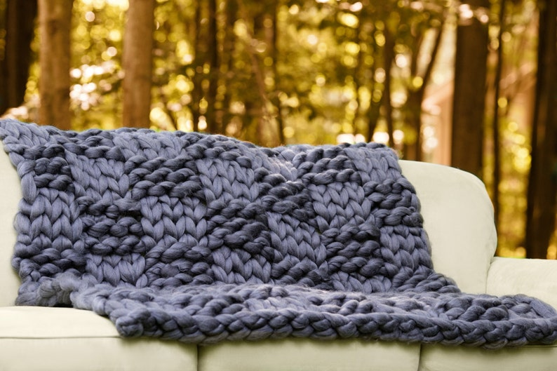 115a6d7846 CHUNKY KNIT Blanket Arm Knit BlanketGiant KnitMerino Wool