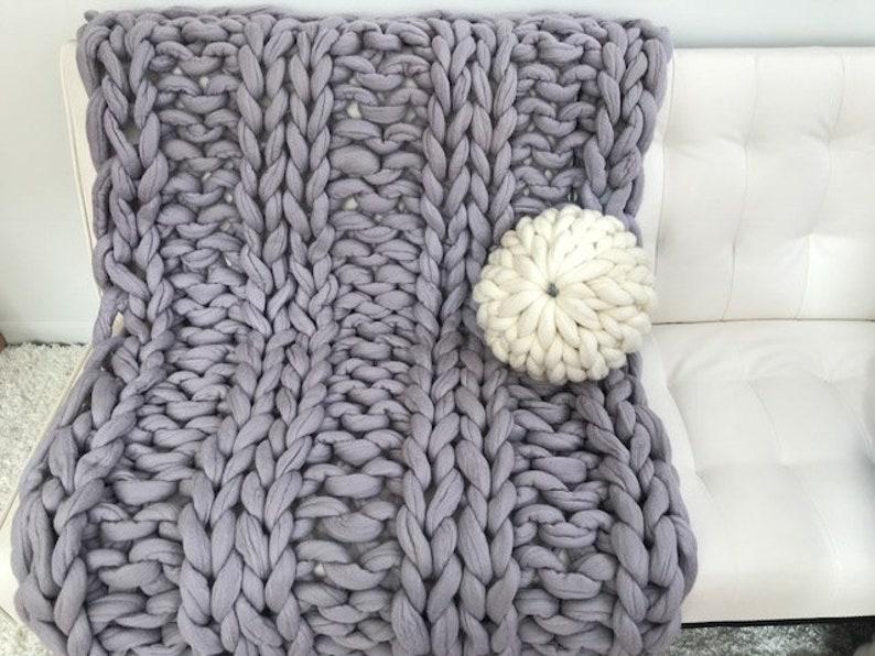 8bd9a4fad2 Chunky knit blanket FELTED MERINO WOOL Blanket Arm Knit