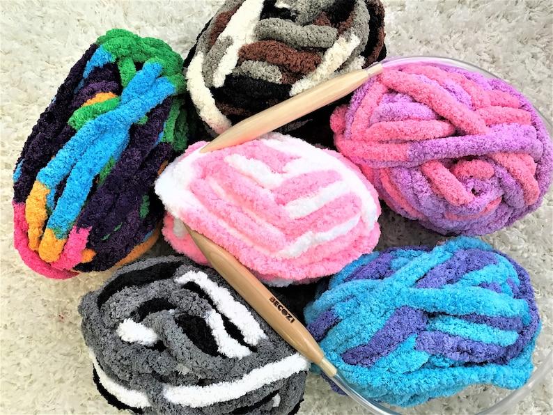 Chunky Knit Chenille Yarn, Variegated colors Chunky chenille Yarn, Mixed  colors chenille yarn, Hand knit, Arm Knit Yarn, Baby Yarn