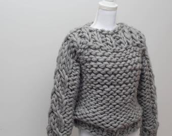 Sweater, Chunky Knit Merino Wool Sweater