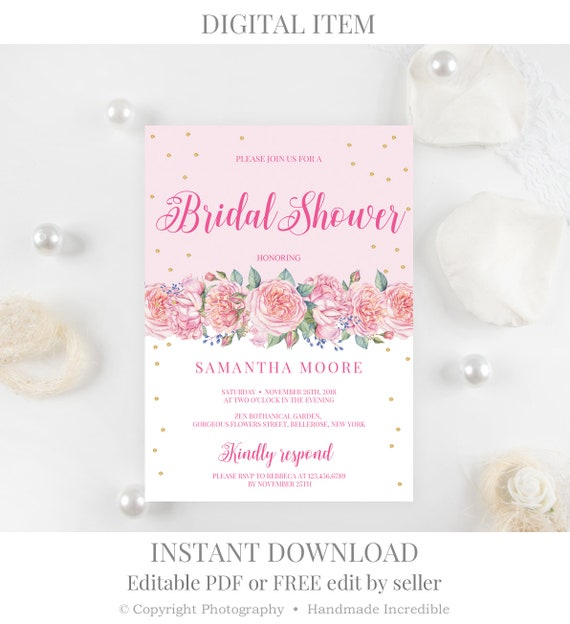 Blush Pink And Gold Bridal Shower Invitation Template Etsy