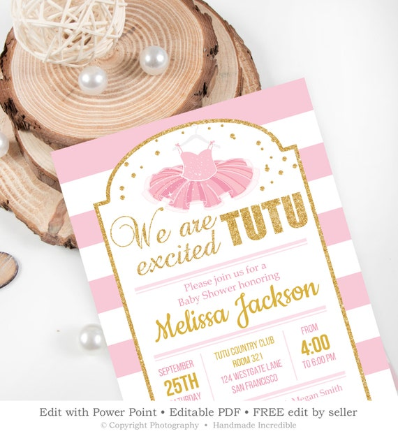 Tutu Baby Shower Invitation Template Printable Blush Pink And Gold Invite Editable Girl Ballerina Excited INSTANT DOWNLOAD BS8