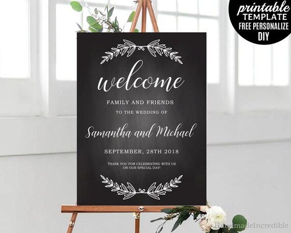 Tableau mariage affiche modèle. Affiche Bienvenue imprimable mariage rustique. Poster de mariage Floral calligraphie moderne de mariage. Télécharger le PDF