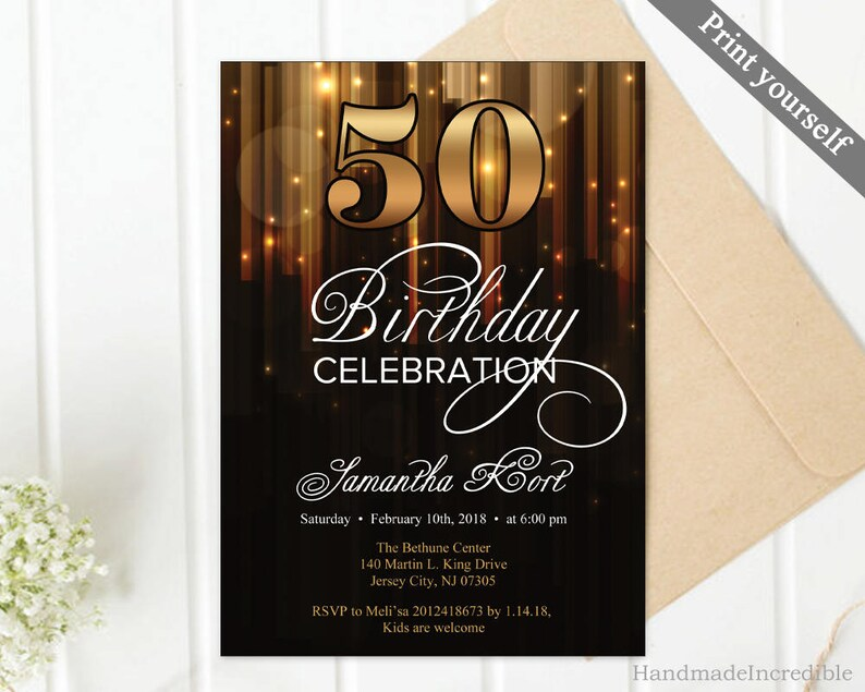 Modern Gold And Black 50th Birthday Invitation Template 30th