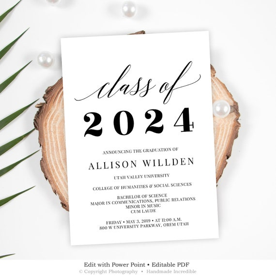 Class Of Invitation Template Graduation Party Printable Editable College Announcement INSTANT DOWNLOAD G5