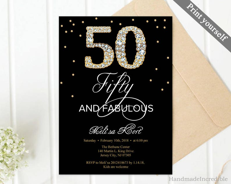 Gold And Black 50th Birthday Invitation Template Diamond 60th Any Age Fifty