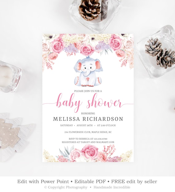 Elephant Baby Shower Invitation Template Printable Blush Pink Etsy