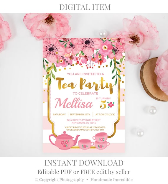 tea party birthday invitation template printable girl blush etsy