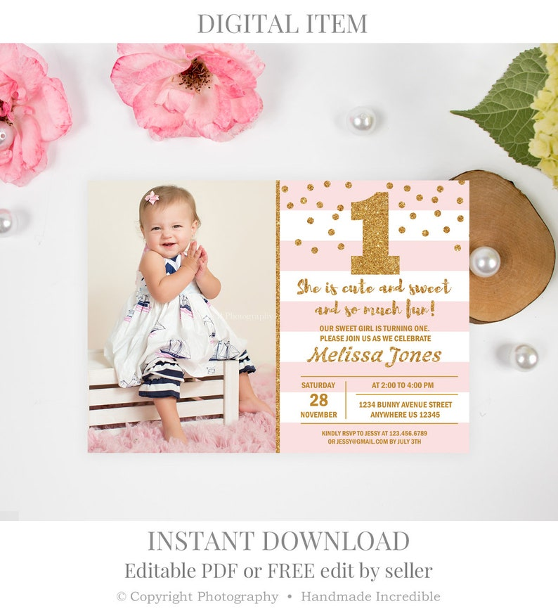 Girl First Birthday Invitation Pink And Gold Invite BD27