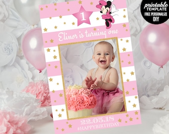 Minnie Mouse Photo Prop Template. Printable Birthday Photo Prop Frame. First Birthday Photo Booth Prop. Photo Frame Template. Download