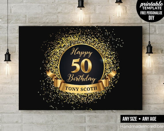 50th birthday party backdrop black and gold fifty and etsy. Black Bedroom Furniture Sets. Home Design Ideas