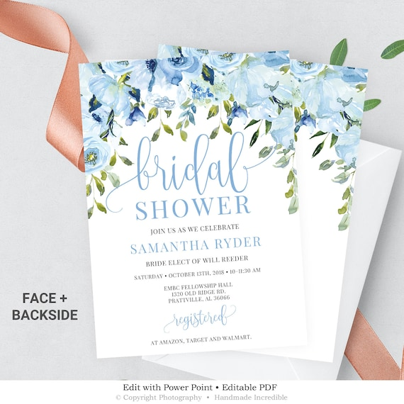 graphic about Printable Wedding Shower Invitations identify Blue Floral Bridal Shower Invitation, Printable Marriage ceremony Shower Invite, Rustic Bridal Shower Invitation Template Quick Down load BS100