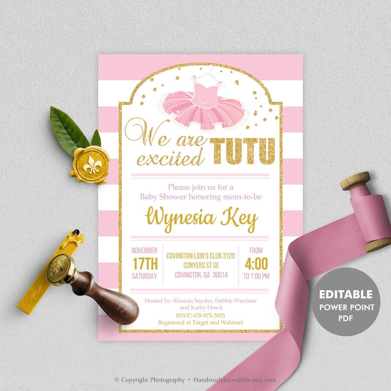 Tutu Baby Shower Invitation Template Printable Blush Pink And Gold Invite Editable Girl Ballerina Excited DIY INSTANT DOWNLOAD BS8