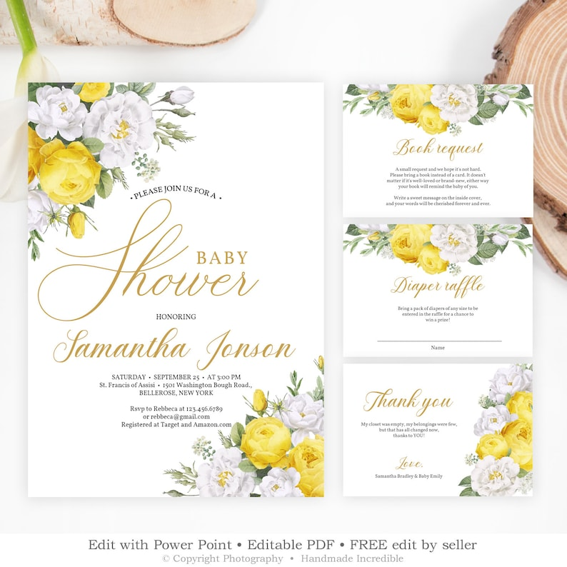 Yellow Baby Shower Invitation Template Editable Floral White Roses Bridal Invite INSTANT DOWNLOAD BS104