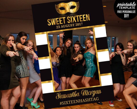 Sweet Sixteen Photo Prop Frame Template. Printable Sweet