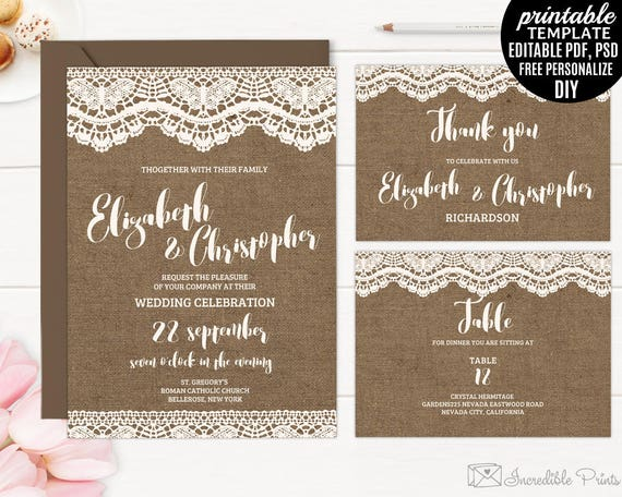 Burlap And Lace Wedding Invitations Template Printable Set Etsy