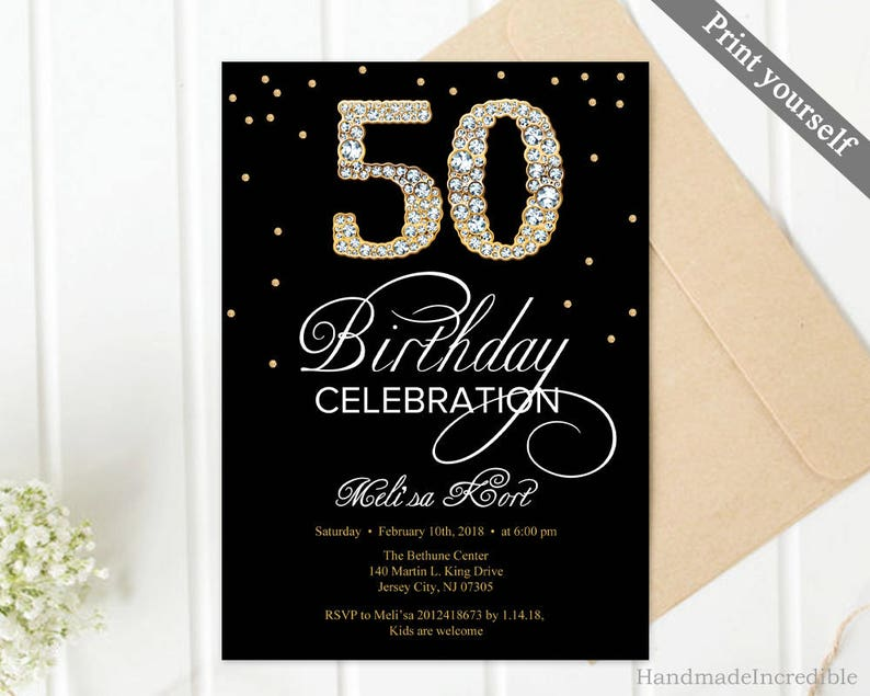 Gold And Black 50th Birthday Invitation Template Diamond 60th