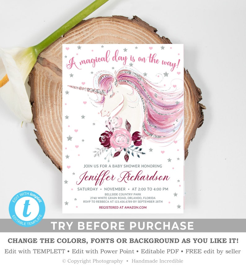 Editable Unicorn Baby Shower Invitation, Printable Burgundy and Pink Floral  Invite, Silver and Pink Template, INSTANT DOWNLOAD TEMPLETT BS60