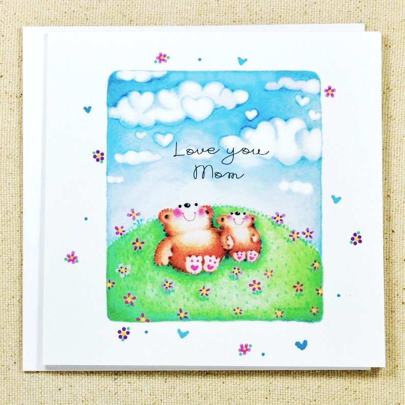 Cute Teddy Bear Mother's Day Card, Cute Personalised Card, Cute Teddy Bear  Birthday Card for Mom, Grandma, Daughter
