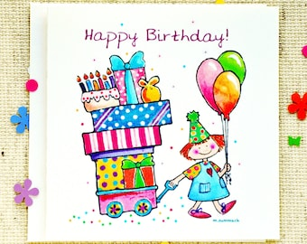 Birthday Card, Cute Birthday Card, Birthday Girl, Happy Birthday Card, Fun, Children's Birthday Card, Presents, Cake, Balloons
