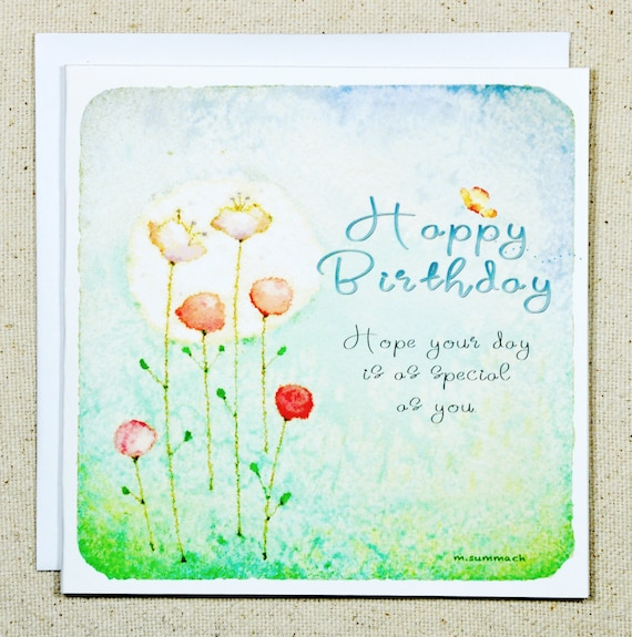 Quality card. Birthday card gorgeous colourful woman flowers blank UK postage