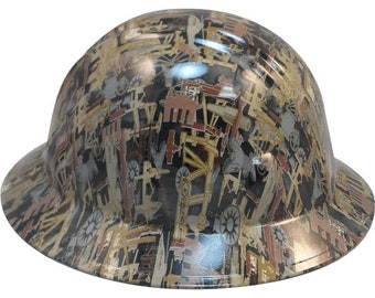 19029bb9298 Oilfield Camo White Hydro Dipped Hard Hats Full Brim Style