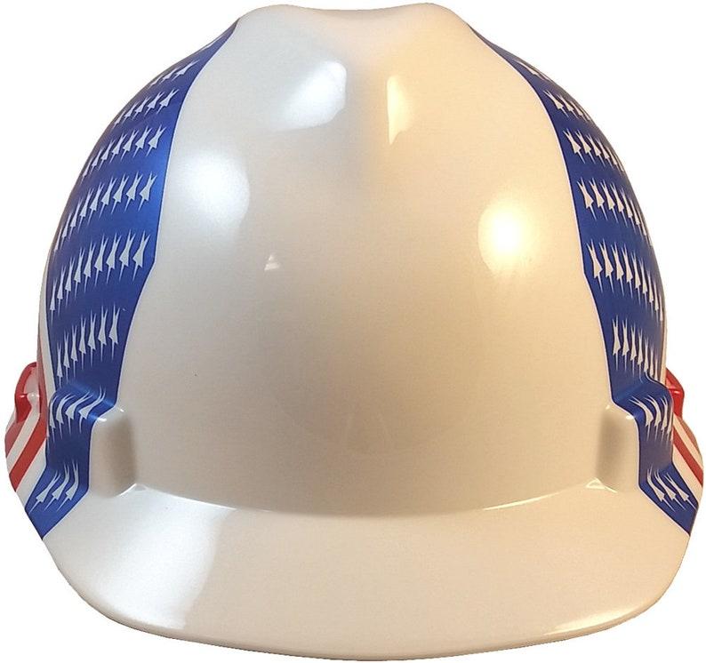 MSA V-Gard Hard Hat with Dual American Flag on Both Sides