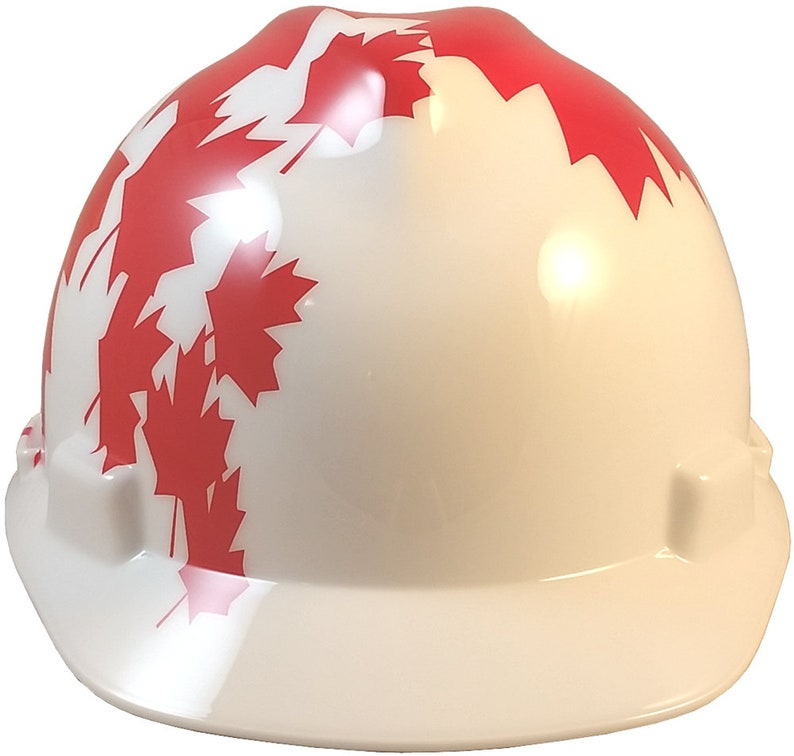 MSA V-Gard Cap Style Canadian Flag Hard Hat with White Shell