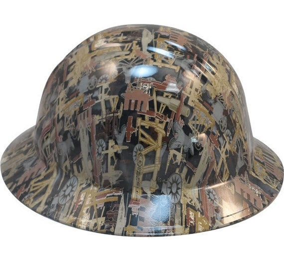 Oilfield Camo White Hydro Dipped Hard Hats Full Brim Style  087318eb37e