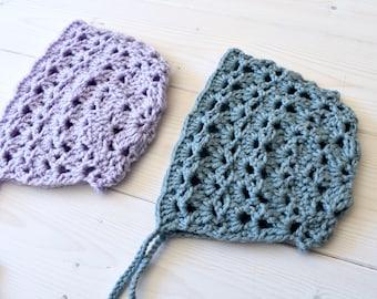 Crochet Eloise Bonnet Written Pattern - Beautiful Lace Baby Bonnet   Hat  Pattern 436a77331d31