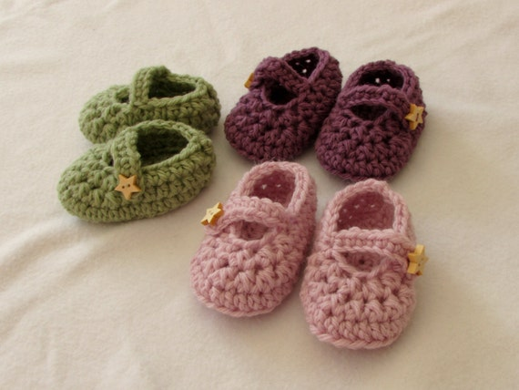 Crochet Baby Mary Jane Shoes / Booties Written Pattern | Etsy
