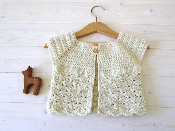 Crochet Little Girls Classic Shell Stitch Cardigan Etsy