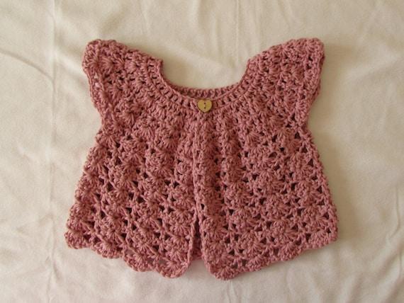 Crochet Shell Stitch Baby / Girl\'s Cardigan Written