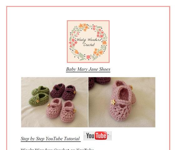 Crochet Baby Mary Jane Shoes / Booties Written Pattern   Etsy
