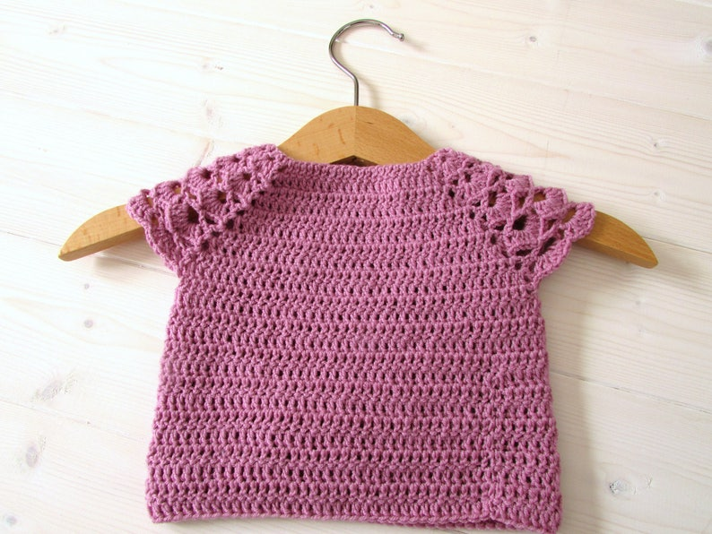 425a77fa8 Pretty Crochet Baby Top Written Pattern - Lace Sleeve Sweater Pattern