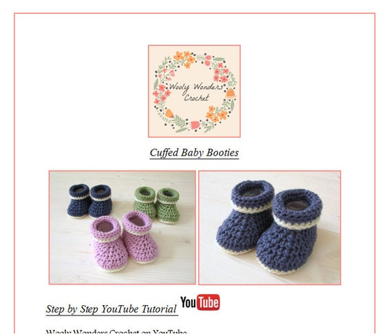 Beginners Crochet Cuffed Baby Booties