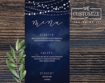 Midnight Stars String Lights Wedding Menu • We customize it, You print it • Watercolor String Lights Romantic Menu