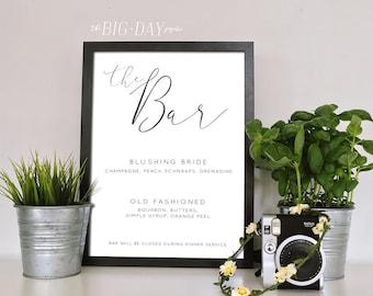 Wedding Bar Sign Customized Printable | Signature Drinks Sign Printable 8 x 10 Wedding Sign