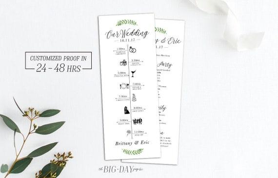 wedding day timeline infographic floral program wedding etsy
