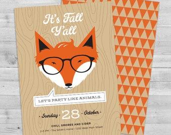 fall birthday invitations fall birthday invite fox birthday etsy