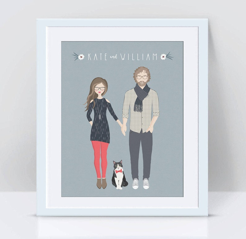 Custom Couple Portrait Custom Couple Illustration Couple image 0