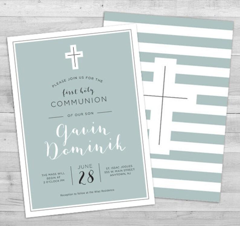 First Communion Invitation Boy Communion Invitations Boy Boy First Communion Invitations Printable Religious Invitations Boy 1st Communion