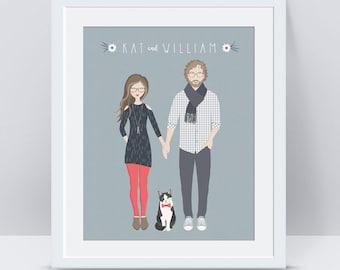 Custom Couple Portrait PRINTABLE, Custom Couple Illustration, 1st Anniversary Gift for Husband Wife, Anniversary Gifts for Boyfriend Couples