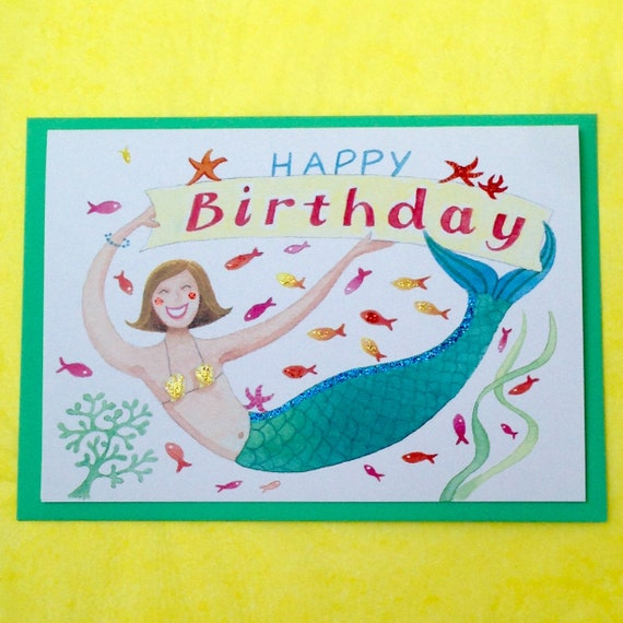Greeting Card Female Child Mermaid Dolphins Glittery Birthday Card