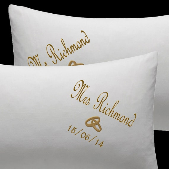 PERSONALISED Pillow cases Embroidered WEDDING GIFT ANNIVERSARY Wedding rings