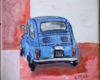 original painting, Fiat 500, blue
