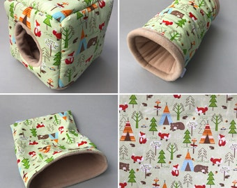 Cosy cube house Cactus hedgehog cage set Fleece bedding tunnel snuggle sack and toys
