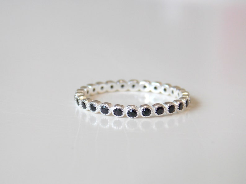 Full Milgrain Bezel Eternity Band Ring Sterling Silver with white CZ Stacking Ring anniversary ring wedding ring promise ring